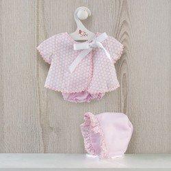 Ropa para Muñecas Así 43 cm - Vestido jesusito piqué rosa con círculos blancos para muñeca María
