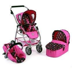 Cochecito 77 cm Emotion 3 en 1 para muñecas - Combi silla, capazo y silla de auto Bayer Chic 2000 - Bolitas rosa