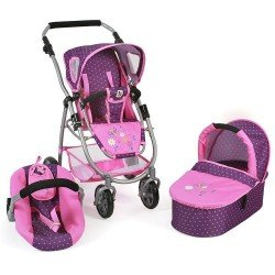 Cochecito 77 cm Emotion 3 en 1 para muñecas - Combi silla, capazo y silla de auto Bayer Chic 2000 - Puntos Morado