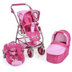 Cochecito 77 cm Emotion 3 en 1 para muñecas - Combi silla, capazo y silla de auto Bayer Chic 2000 - Puntos Rosa