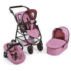 Cochecito 77 cm Emotion 3 en 1 para muñecas - Combi silla, capazo y silla de auto Bayer Chic 2000 - Rosa vaquero