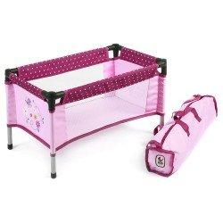 Cuna-Parque para muñecas de hasta 45 cm - Bayer Chic 2000 - Lunares frambuesa-rosa