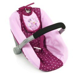 Silla de Auto para muñecas de 46 cm - Bayer Chic 2000 - Lunares frambuesa-rosa