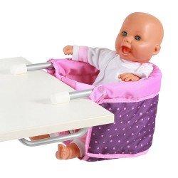 Sillita elevada para muñecas de hasta 60 cm - Bayer Chic 2000 - Puntos morado