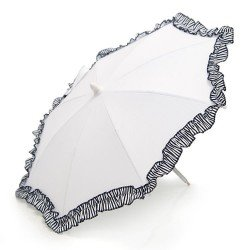 Sombrilla para cochecito-sillita de muñecas Bebelux - Piqué Blanco con volante y rallas blanco-marino NAVY