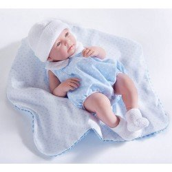 Muñeco Berenguer Boutique 43 cm - La newborn 18108 (chico) con traje azul con mantita