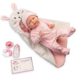 Muñeca Berenguer Boutique 39 cm - La newborn 18789 con conjunto rosa, arrullo de conejito y accesorios