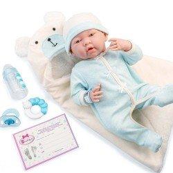 Muñeco Berenguer Boutique 39 cm - La newborn 18790 con conjunto azul, arrullo de osito y accesorios