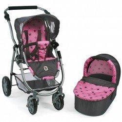 Cochecito 77 cm Emotion 2 en 1 para muñecas - Combi silla y capazo Bayer Chic 2000 - Estrellas grises