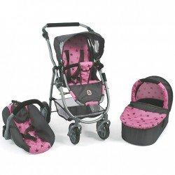 Cochecito 77 cm Emotion 3 en 1 para muñecas - Combi silla, capazo y silla de auto Bayer Chic 2000 - Estrellas grises