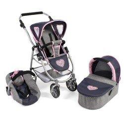 Cochecito 77 cm Emotion 3 en 1 para muñecas - Combi silla, capazo y silla de auto Bayer Chic 2000 - Marino-Gris