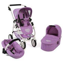 Cochecito 77 cm Emotion 3 en 1 para muñecas - Combi silla, capazo y silla de auto Bayer Chic 2000 - Lila