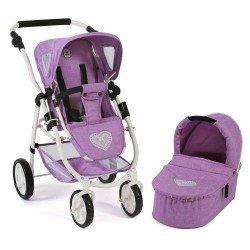 Cochecito 77 cm Emotion 2 en 1 para muñecas - Combi silla y capazo Bayer Chic 2000 - Lila