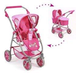 Cochecito 77 cm Emotion 2 en 1 para muñecas - Combi silla y capazo Bayer Chic 2000 - Puntos Rosa