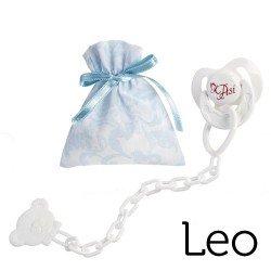 Complementos para muñecas Así Leo - Chupete con pinza y bolsa de cachemir celeste y blanco
