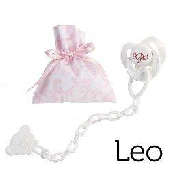 Complementos para muñecas Así Leo - Chupete con pinza y bolsa de cachemir rosa y blanco