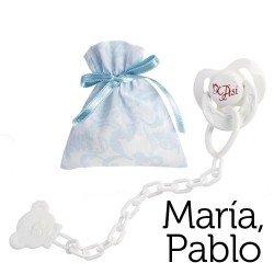 Complementos para muñecas Así María y Pablo - Chupete con pinza y bolsa de cachemir celeste y blanco