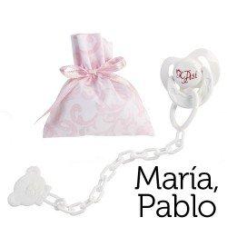 Complementos para muñecas Así María y Pablo - Chupete con pinza y bolsa de cachemir rosa y blanco