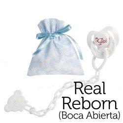 Complementos para muñecas Así Real Reborn con la boca abierta - Chupete mariposa con pinza y bolsa de cachemir celeste y blanco