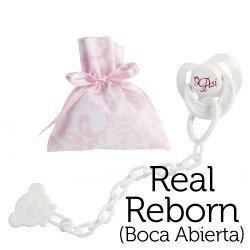 Complementos para muñecas Así Real Reborn con la boca abierta - Chupete mariposa con pinza y bolsa de cachemir rosa y blanco