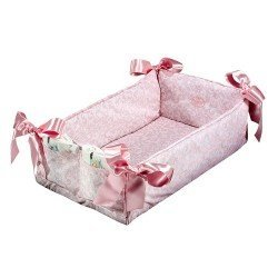 Complementos muñecas Así - Cuna cambiador con dos bolsillos cachemir rosa y blanco
