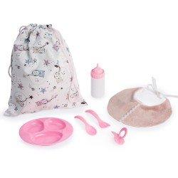 Complementos muñecas Así 43 cm - Set babero y bolsa con complementos de comiditas