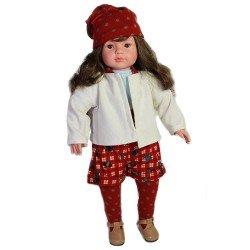 Muñeca D'Nenes 52 cm - Paula con conjunto rojo y blanco