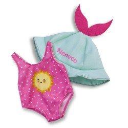 Ropa para muñeco Nenuco 35 cm - Bañador rosa y gorro verde