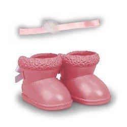 Zapatos y accesorios de 35 cm para muñeco Nenuco - Botas de invierno rosa y diadema