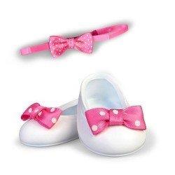 Zapatos y accesorios de 35 cm para muñeco Nenuco - Zapatos blancos con lazo rosa y diadema
