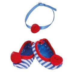 Zapatos y accesorios de 35 cm para muñeco Nenuco - Zapatos rayas azules y colgante