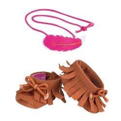 Zapatos y accesorios de 35 cm para muñeco Nenuco - Botas marrones y coletero