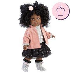 Ropa para Muñecas Llorens 35 cm - Conjunto falda de tul negra con chaqueta rosa y peúcos