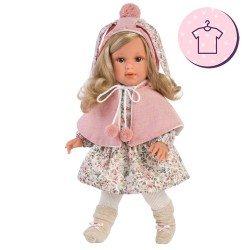 Ropa para Muñecas Llorens 40 cm - Vestido estampado flores con capa rosa y peúcos