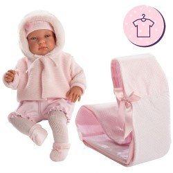 Ropa para Muñecas Llorens 44 cm - Conjunto de punto rosa con chaqueta, gorro y peúcos