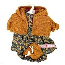 Ropa para Muñecas Llorens 33 cm - Conjunto estampado flores con chaqueta y peúcos mostaza
