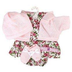 Ropa para Muñecas Llorens 33 cm - Conjunto estampado flores rosa con chaqueta, peúcos y gorro rosa