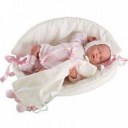 Muñeca Llorens 42 cm - Lala Llorona durmiente con capazo-cambiador