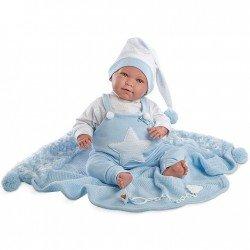 Muñeco Llorens 42 cm - Lalo Llorón con pijama y toquilla azul