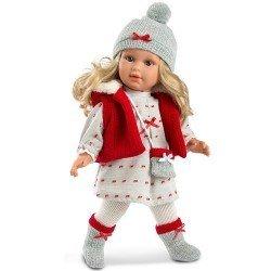 Muñeca Llorens 40 cm - Martina rubia con chaleco rojo