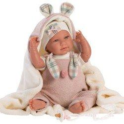 Muñeca Llorens 42 cm - Recién nacida Mimi llorona con mantita orejitas