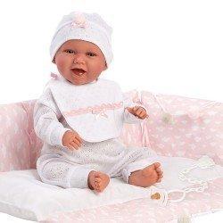Muñeca Llorens 42 cm - Recién nacida Mimi sonrisas con cambiador rosa