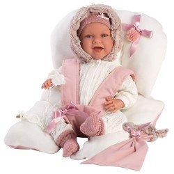 Muñeca Llorens 42 cm - Recién nacida Mimi sonrisas con sillita rosa