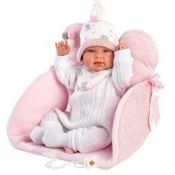 Muñeca Llorens 44 cm - Recién nacida Tina llorona con asiento-cambiador