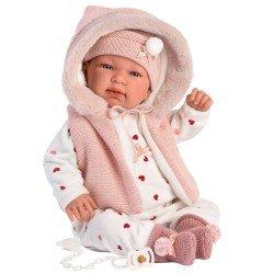 Muñeca Llorens 44 cm - Recién nacida Tina llorona con capucha