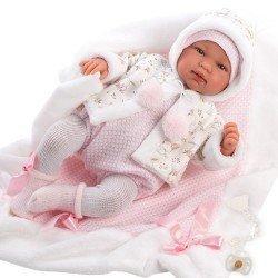 Muñeca Llorens 44 cm - Recién nacida Tina llorona con toquilla rosa