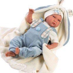 Muñeco Llorens 42 cm - Recién nacido Lalo llorón con mantita orejitas