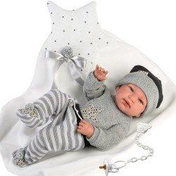 Muñeco Llorens 43 cm - Recién nacido Tino con mantita con estrella