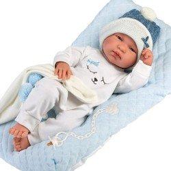 Muñeco Llorens 43 cm - Recién nacido Tino con cojín