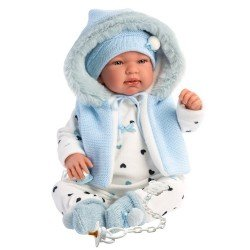 Muñeco Llorens 44 cm - Recién nacido Tino llorón con capucha